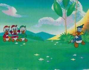 Walt-Disney-Donald-Duck-Hand-inked-Prod-Cel-Toy-Commercial-80-039-s-Huey-Dewey-Louie