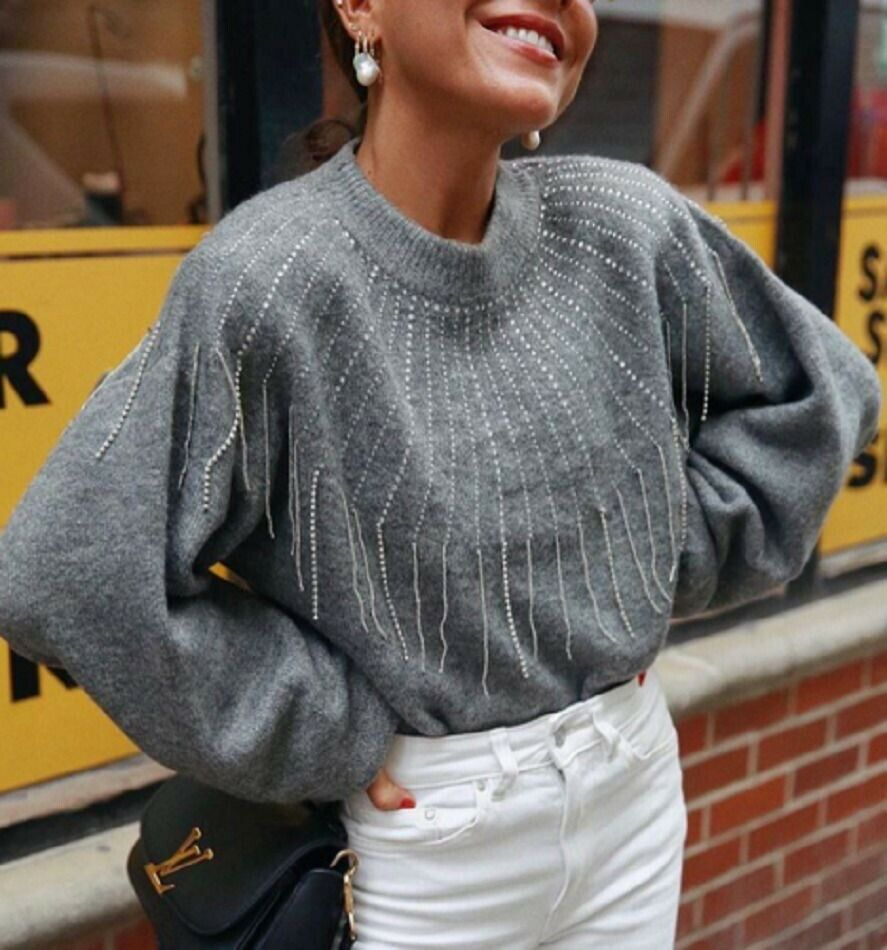 4bdd457e6 Sweater Beaded Fringed Zara Knitwear AW18 NWT 114 9598 Ref Grey ...