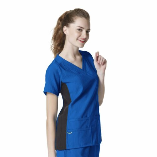 WonderWink Scrubs 4 STRETCH Women/'s Medical Mock Wrap Knit Panel Top/_6514
