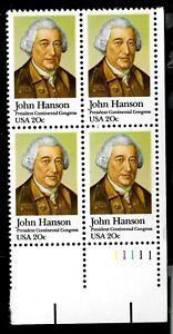US-1981-Sc-1941-20-c-John-Hanson-Mint-NH-Plate-Block-of-4