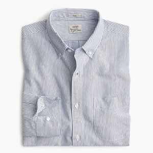 New-J-Crew-Stretch-Slim-Oxford-Shirt-Button-Up-Long-Sleeve-Striped-Blue-White