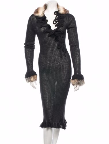 Spectacular $5 K Jean Paul Gaultier Femme Dress With Detachable Fur Cuffs/Collar by Jean Paul Gaultier