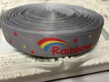 New 1 Metre Rainbows Print Grosgrain Ribbon Designer 22mm Cakes Bow Dummy