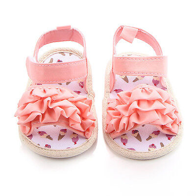 Baby Kids Girls Soft Sole Crib Open-toe Sneakers Toddler Newborn Sandals Shoes
