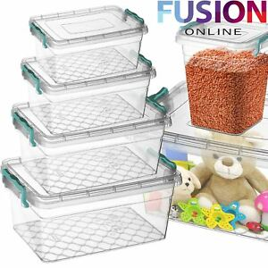 Plastic-Storage-Box-Clear-Boxes-With-Lids-Clip-Locking-Food-Home-Kitchen-Office
