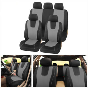 9pcs Polyester Cloth Car Seat Covers Front Rear Fit For Interior Accessories Ebay