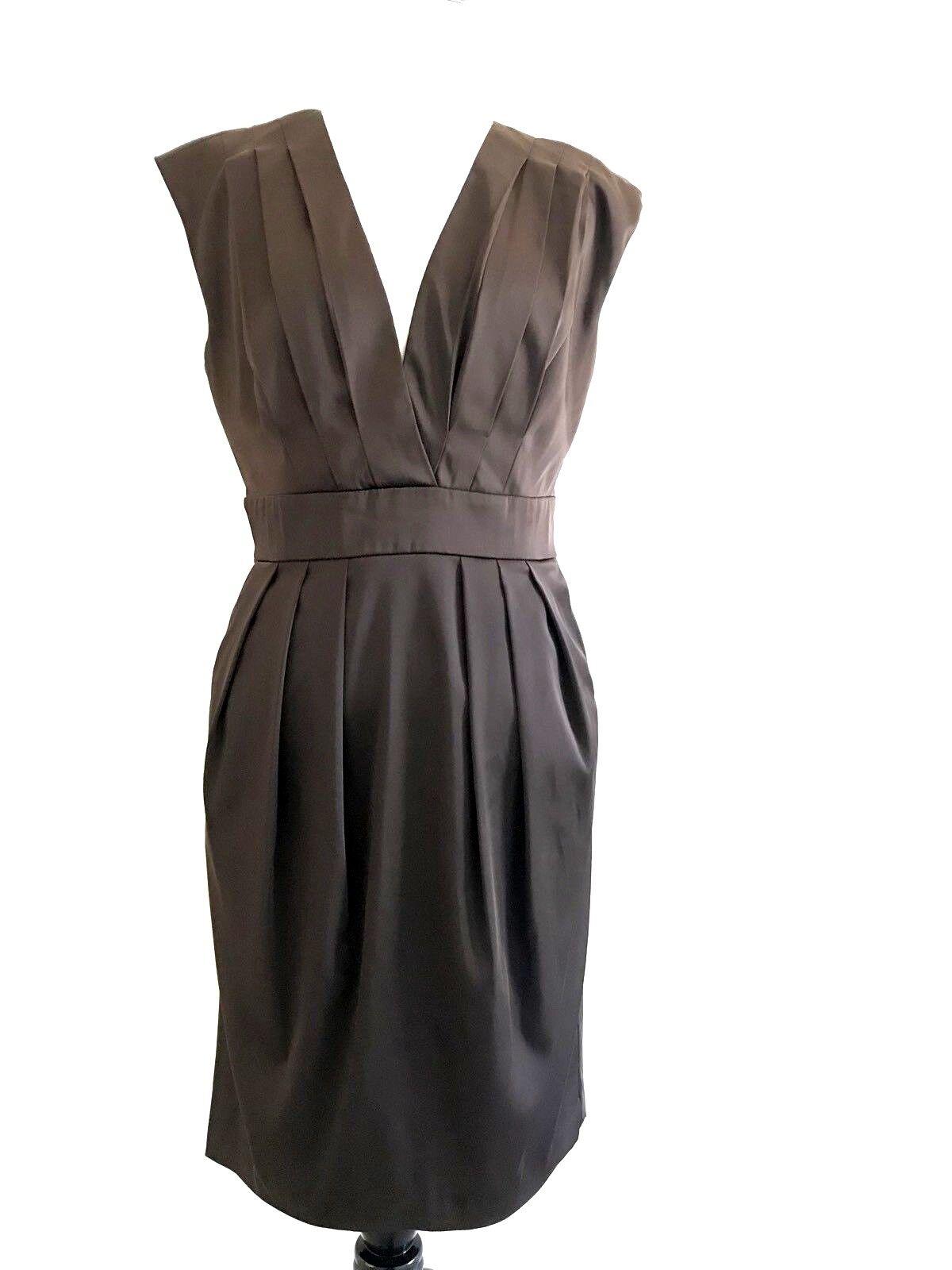 Max and Cleo damen Grechen Dress Größe 10 braun Cap Sleeves Pleated V-neck