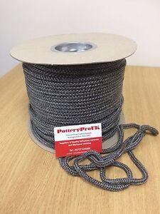 6mm BLACK GLASS FIBRE Rope woodburner Stove Rope - Fire  - Door Seal made in UK