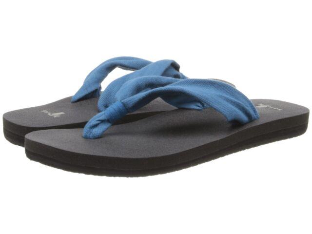 NEW sanuk 7.5 8 39 SANDAL FLIP FLOP SHOE YOGA SLINGER YOGA MAT SOLE Blue Indigo