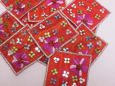 10 x Embroidered Lilac Silver Flower Card Bag Arts Crafts Making Motifs #12E55