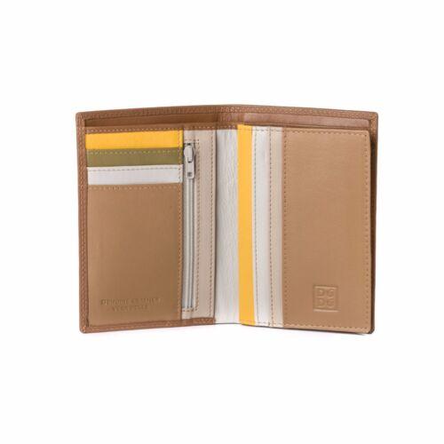 DuDu Portafoglio in pelle a libro da uomo Safari Multicolore con lampo interna