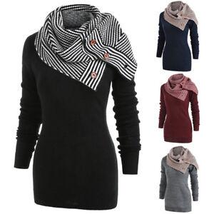 2a3a0b7388f Femmes rayé boutons écharpe oblique cou manches longues tricot pull ...