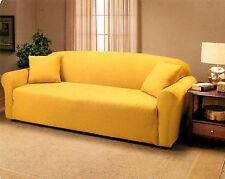 Solid Yellow Madison Stretch Jersey Loveseat Slipcover