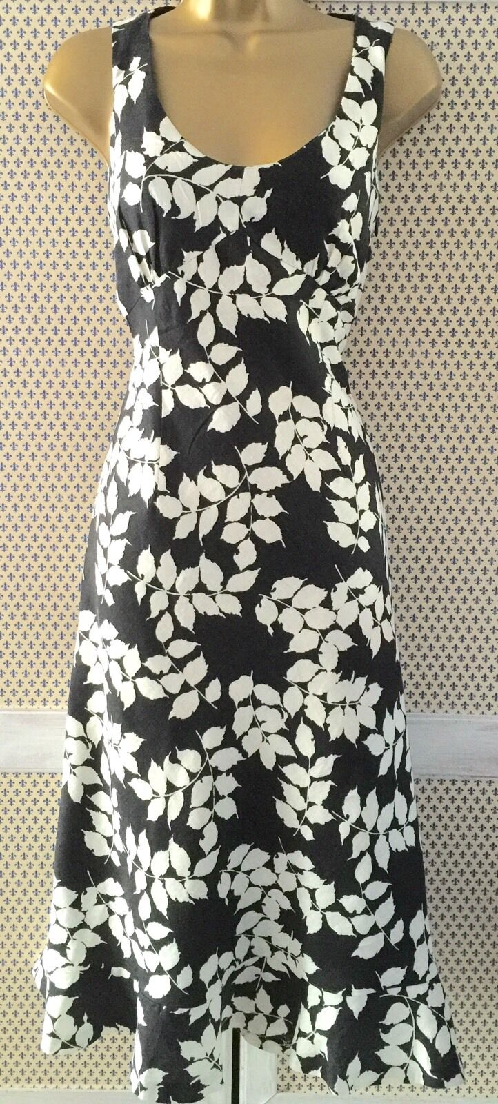 Gorgeous L K Bennett Fit & Flare Black/white Linen Dress Size 10