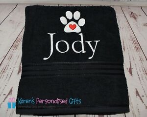 Personalised-Dog-Towels-Black-SMALL-LG-XL-Luxury-Egyptian-towels-600-gsm