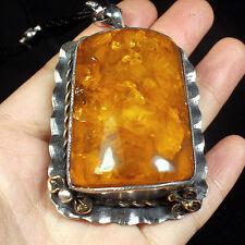 58.4g 100% Natural 925 Silver Baltic Butterscotch Amber Antique Pendant CRP8R