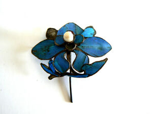Qing-Dynasty-Kingfisher-Feather-Hair-Pin-Antique-VINTAGE-Blue-Tian-tsui