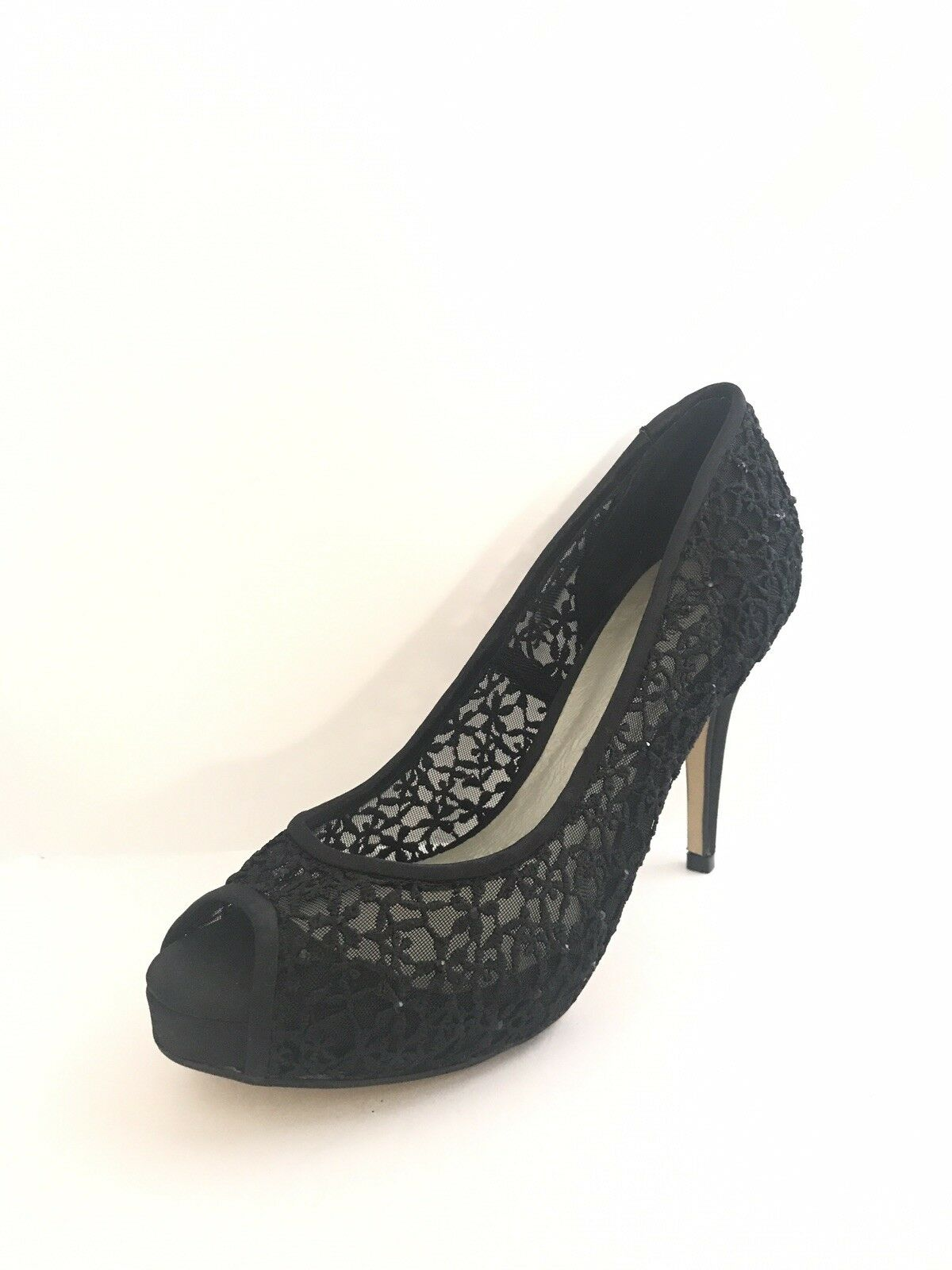 Menbur Women's Black Crochet Open Toe Pumps Size 39 NEW