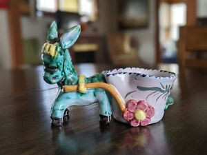 Vintage DONKEY With Cart PLANTER Italy Colorful Ceramic Signed Italy