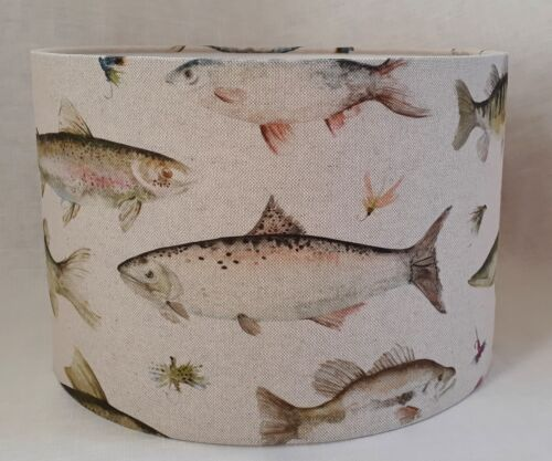 Voyage RIVER FISH linen country wild drum lampshade 20 25 30 35 40cm