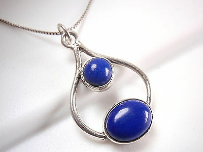 Lapis 925 Sterling Silver Pendant Curved Round Oval Corona Sun Jewelry