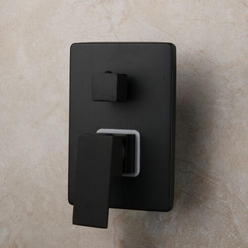 """8/"""" Black Shower Faucet Set Square Rainfall Shower Heads Mixer Control Valve  Tap"""