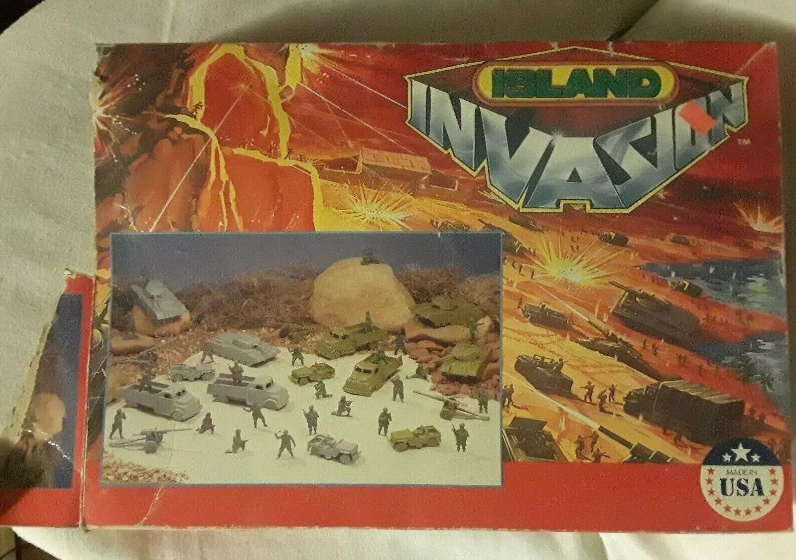 Vintage Ejército Acción Jugarset Isla invasión Ejército Hombres soldados de juguete