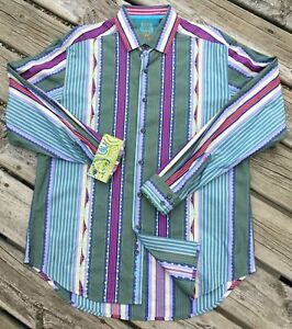 Robert-Graham-Striped-Button-Up-L-Purple-Green-Yellow-Cotton-Flip-Cuffs-Stripe