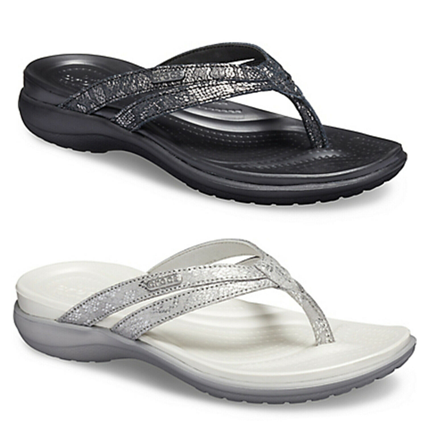 Crocs Womens Capri Strappy Flip Flops Ladies Dual Comfort Cushioned Thong Sandal
