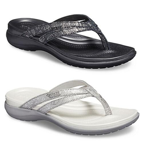 Crocs Womens Capri Strappy Flip Flops Ladies Dual Comfort Cushioned Thong Sandal