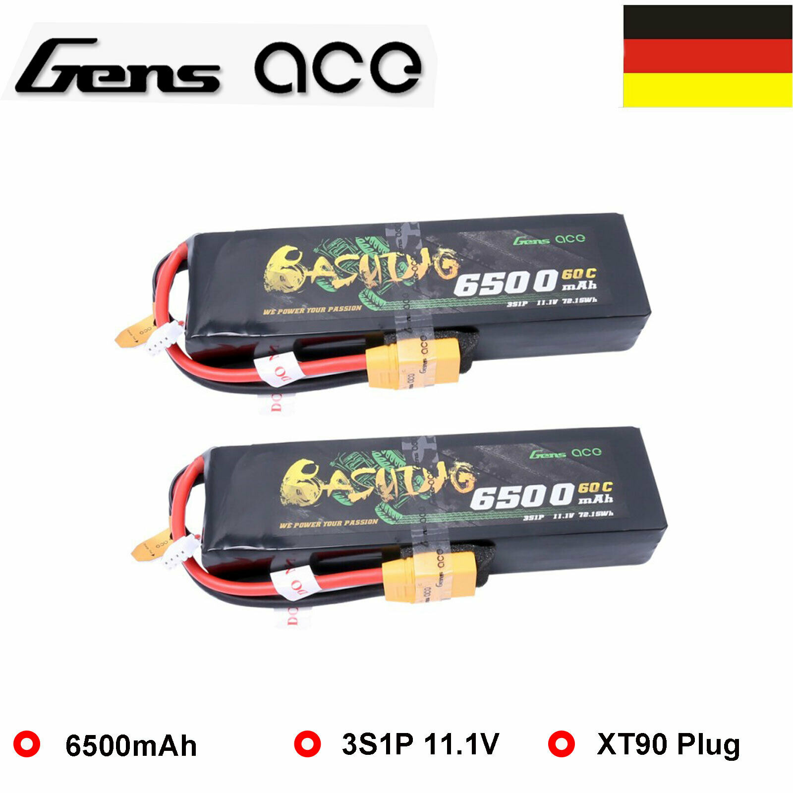 2 x 6500mAh batería Lipo 3s 11.1V 60 C golpear el paquete de baterías de coche del RC 1 8 XT90 enchufe