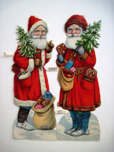 Small 194050's Christmas PZB DieCut of Two Santa's w Cookies W.Germany