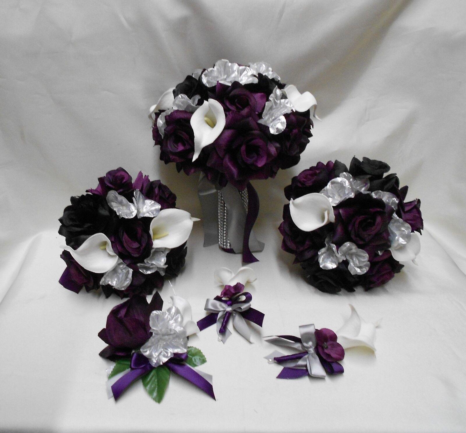 Soie Fleur Mariage Bridal Bouquet Violet Prune Aubergine Argent Calla Lily 18 pcs