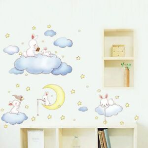 Wall Stickers For Kids Room Baby Bedroom Decor Moon Stars Clouds ...