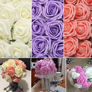 50-100-Stk-Schaum-Rosen-Kuenstliche-Blumen-Rosenkoepfe-Rosenblueten-Hochzeit-Deko