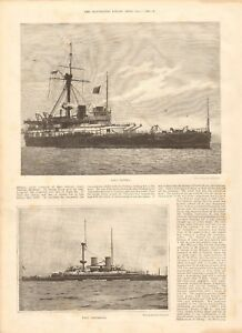 1893 ANTIQUE PRINT - LOSS OF HMS VICTORIA, DEATH OF ADMIRAL SIR GEORGE TRYON