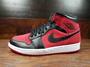 a65354b7d453 Air Jordan 1 Mid Retro AJ1 (Gym Red   Black   White) BRED 554724-610 ...