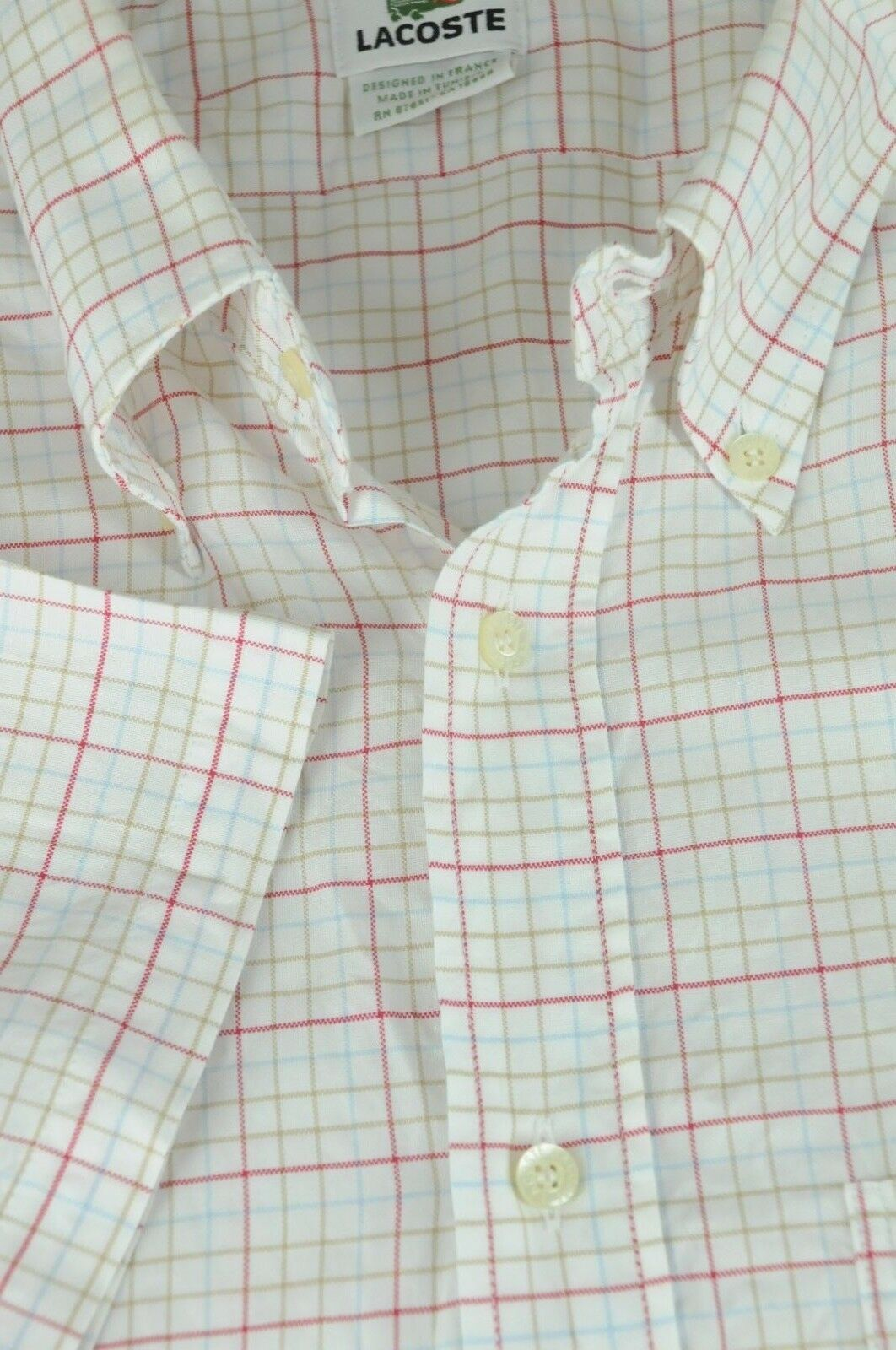0bf2b799 Lacoste Men's White Red Brown & bluee Geo Cotton Casual Shirt XL XLarge  Size 46