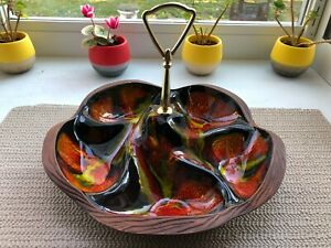 VTG-Mid-Century-Modern-Calif-Pottery-USA-Sequoia-Ware-Tidbit-Tray-with-Handle