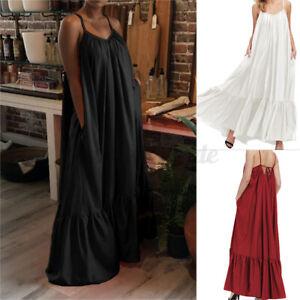Mode-Femme-Robe-Oversize-Sans-manche-Plisse-Plage-Ample-Bohemienne-Dresse-Plus