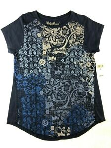 NWT-NEW-Womens-Lucky-Brand-Navy-Blue-with-Flowers-T-Shirt-Top-Tee