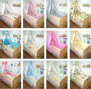 6 tlg baby kinder bettset mit 420 cm rundum nestchen bettw sche vollstoff himmel ebay. Black Bedroom Furniture Sets. Home Design Ideas