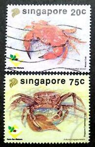 Singapore-1992-Crabs-20c-amp-75c-2v-Used