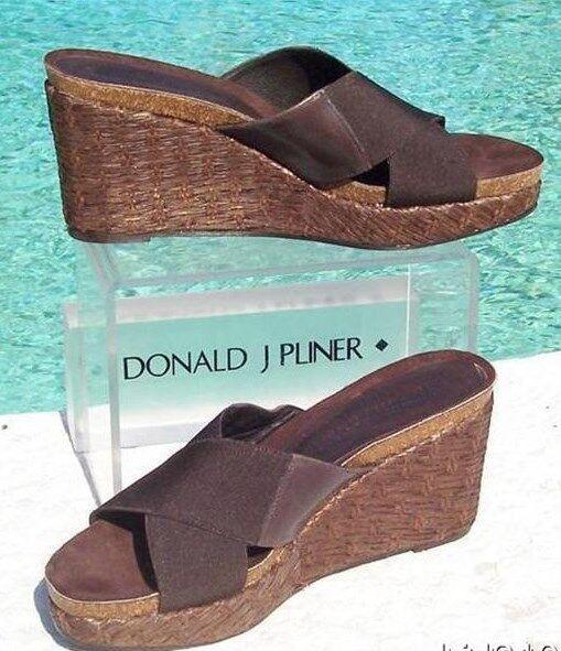 Donald Pliner Couture Leather Straw Wedge Platform shoes NIB Sz 9 Elastic  220