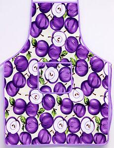 Purple Apple Print Kitchen Apron Bib W Pocket Cooking Baking Chefs 100% Cotton