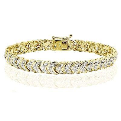 Genuine Diamond Accented Heart Tennis Bracelet in Gold Tone