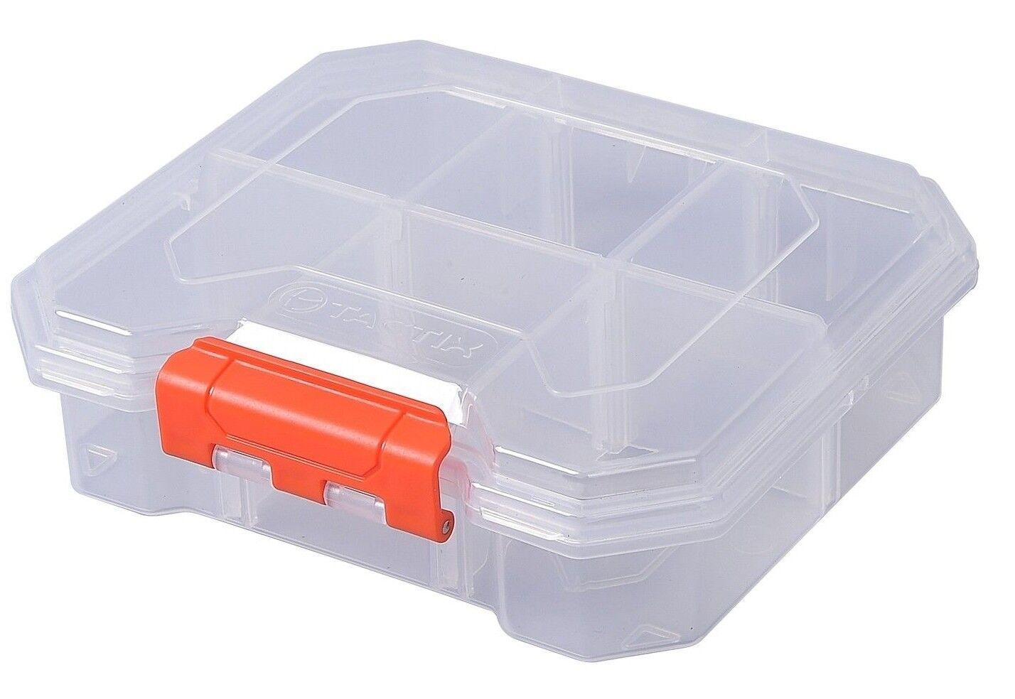 4x Tactix 6-COMPARTMENT STORAGE BOX 165x52x180mm Removable Removable Removable Dividers TRANSPARENT 70553c