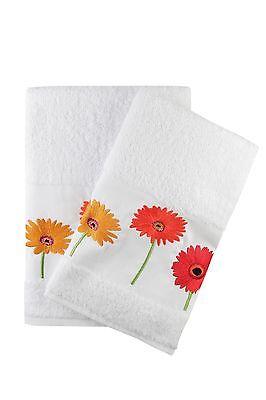 Ebru Bath And Hand Towel Set Best Quality /%100 Turkish Cotton Gerber Flowers