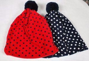 NWT Baby GAP Girls Pro Fleece Pom-Pom Hat S//M or M//L Navy Blue White Polka Dot