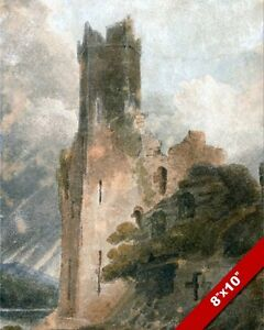 ENGLISH COUNTRYSIDE CASTLE RUINS /& CHURCH ENGLAND PAINTING ART REAL CANVAS PRINT